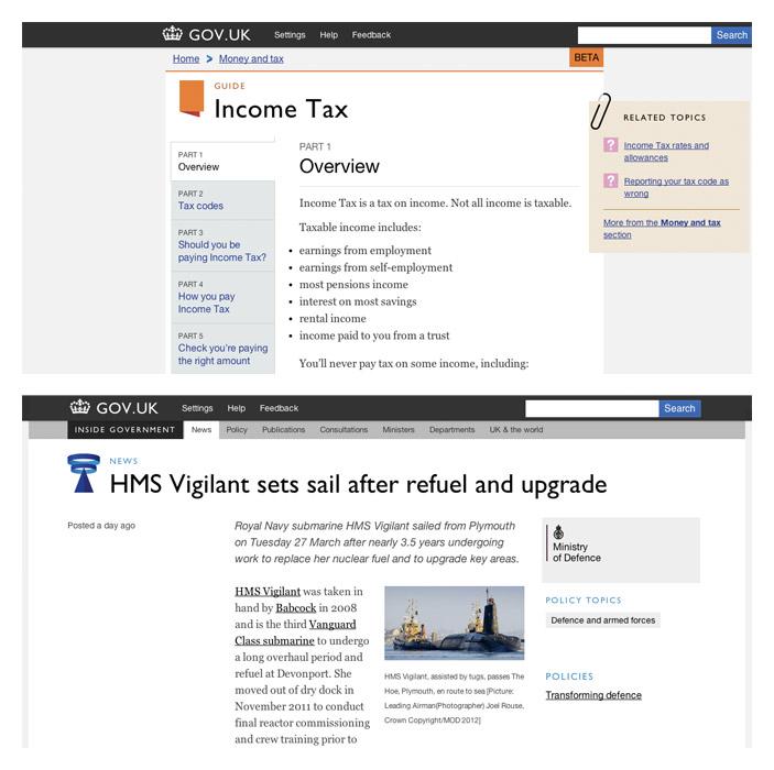 GOV.UK的畫面截圖和 INSIDE GOVERNMENT 測試版